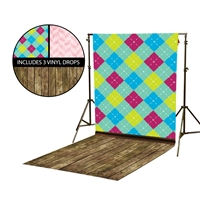 Pastel Argyle & Pink Chevron Vinyl Backdrop Kit