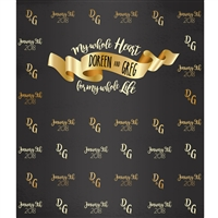 """My Whole Heart"" Custom Wedding Printed Backdrop"