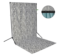Black/White Circles & Teal Fabric Backdrop Kit