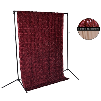 Burgundy Rose & Mocha Fabric Backdrop Kit