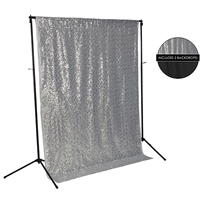 Silver Sequin & Deep Black Fabric Backdrop Kit