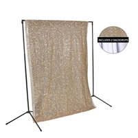 Rose Gold Sequin & White Fabric Backdrop Kit