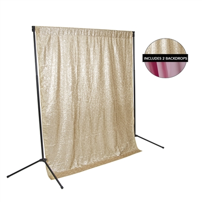 Champagne Sequin & Spring Pink Fabric Backdrop Kit