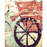 Wagon Painted Brick Wall Printed Backdrop