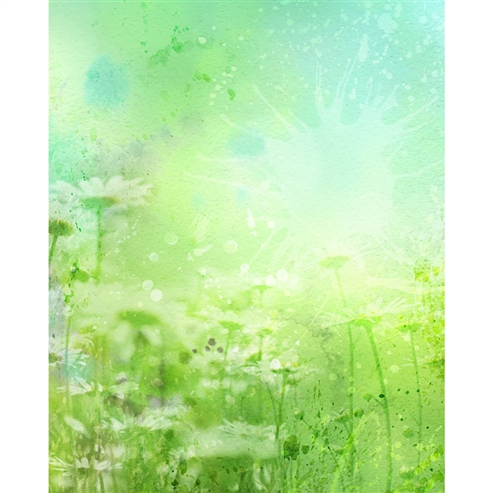Watercolor Daisies Printed Backdrop