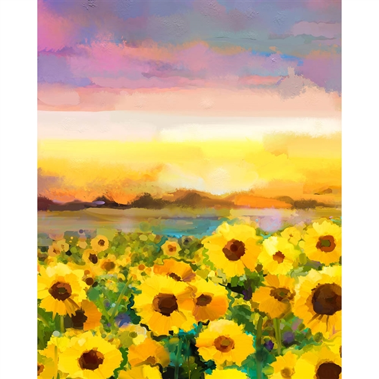 Painted Sunflower Field Printed Backdrop