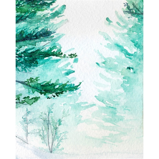 Watercolor Forest Printed Backdrop