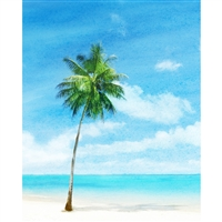 Watercolor Beach Printed Backdrop