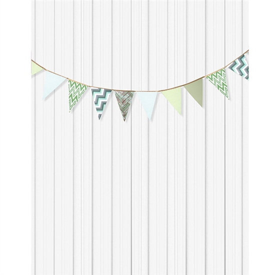 Green and White Bunting Printed Backdrop