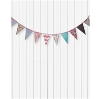 Bunting on Smooth White Printed Backdrop