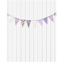 Purple and White Bunting Printed Backdrop