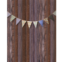 Vintage Wood Bunting Printed Backdrop