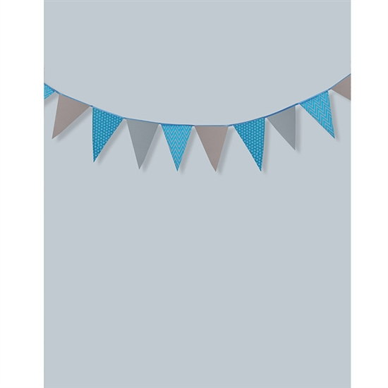Blue and Gray Bunting Printed Backdrop