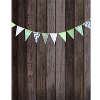 Green Bunting on Gray Planks Printed Backdrop
