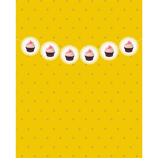 Golden Cupcake Banner Printed Backdrop