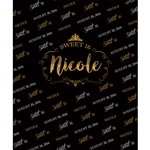 Black & Gold Sweet 16 Custom Printed Backdrop