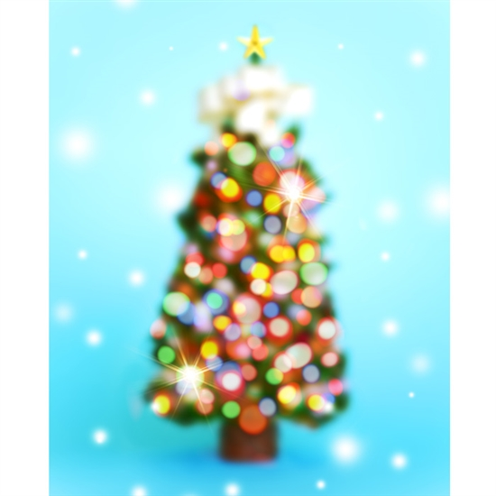 Glimmering Christmas Tree Printed Backdrop