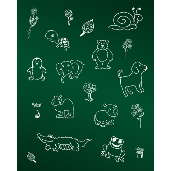 Animals Chalkboard Printed Backdrop