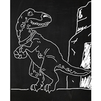 T-Rex Chalkboard Printed Backdrop