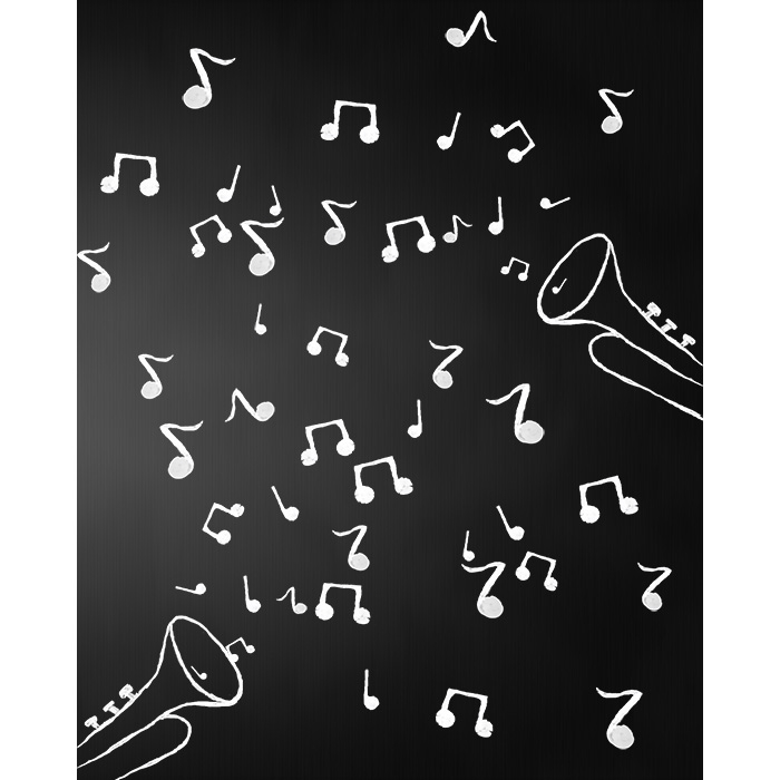 Musical Notes Chalkboard Printed Backdrop Backdrop Express