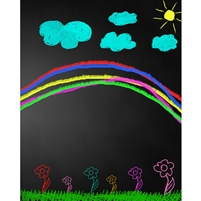 Rainbow Chalkboard Printed Backdrop