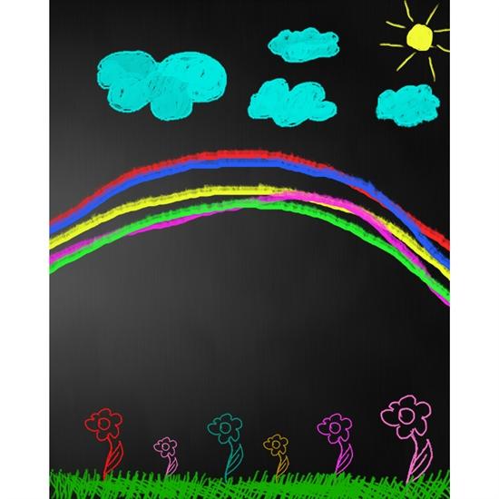 Rainbow Chalkboard Printed Backdrop Backdrop Express