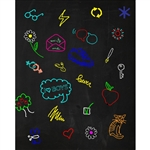 Colorful Doodles Chalkboard Printed Backdrop