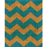 Grunge Orange & Teal Chevron Printed Backdrop