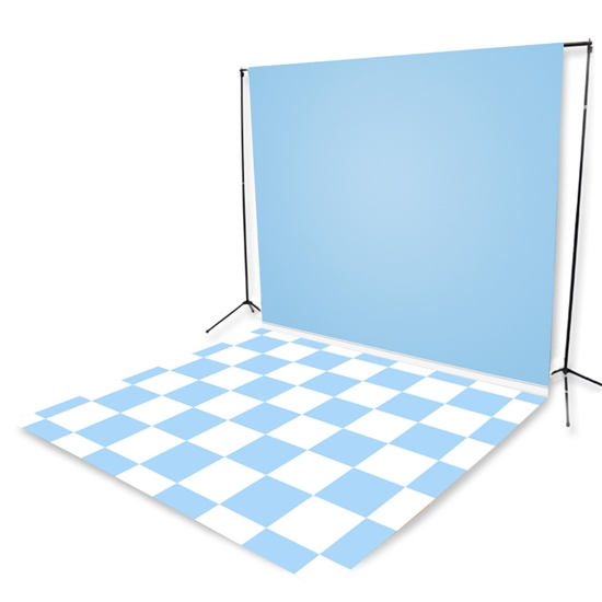 Baby Blue Tiles Floor Extended Printed Backdrop