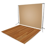 Beige & Rum Oak Floor Extended Printed Backdrop