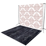 Blush Damask & Smoky Wood Floor Printed Extended Backdrop
