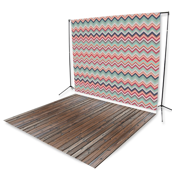 Mulitcolored Chevron & Handscraped Oak Extended Printed Backdrop