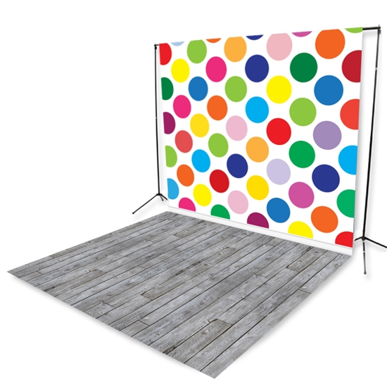 Polka Dot & Gray Pine Floor Extended Printed Backdrop
