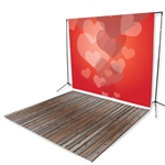 Bubbling Hearts & Handscraped Oak Floor Extended Printed Backdrop