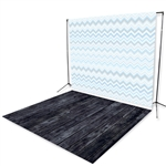 Ocean Blue Chevron Floor Extended Printed Backdrop