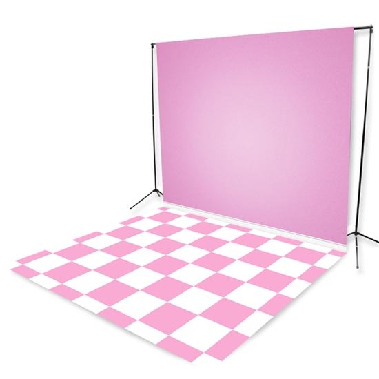Pale Pink Tiles Floor Extended Printed Backdrop