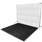White Tin Tiles & Dark Planks Floor Extended Printed Backdrop