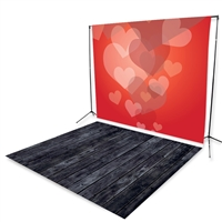 Bubbling Hearts & Black Smoky Wood Floor Extended Printed Backdrop