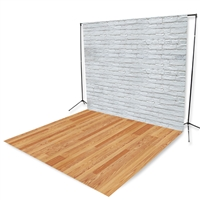 White Brick and Red Oak Floor Extended Printed Backdrop