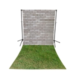 Cinder Blocks & Grass Floor Extended Printed Backdrop