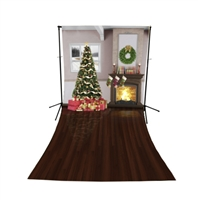 Christmas Living Room Floor Extended Printed Backdrop