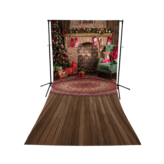 Christmas Great Room Floor Extended Printed Backdrop