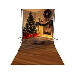 Holiday Fireplace Floor Extended Printed Backdrop