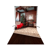 Formal Christmas Room Floor Extended Printed Backdrop