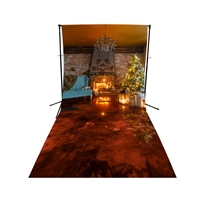 Christmas Cabin Floor Extended Printed Backdrop