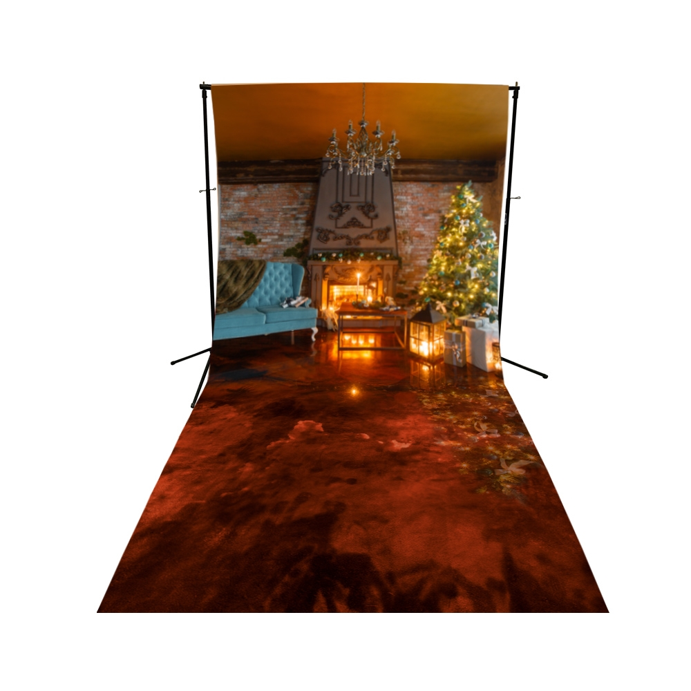 Christmas Cabin Floor Extended Printed Backdrop Backdrop
