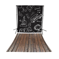 School Blackboard & Handscraped Oak Floor Extended Printed Backdrop