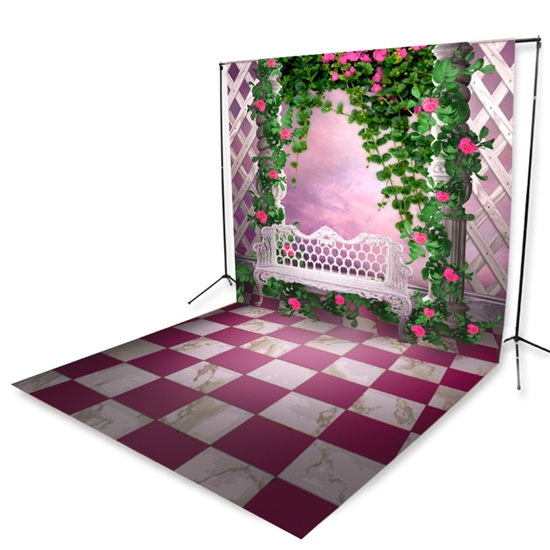 Rosy Pink Courtyard Floor Extended Printed Backdrop