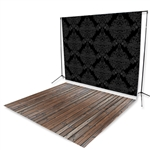 Black Damask Floor Extended Printed Backdrop