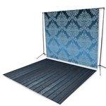 Blue Damask & Dark Indigo Floor Extended Printed Backdrop